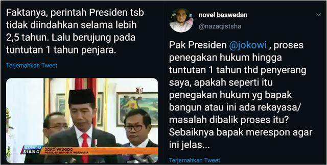 Novel Marah! Posting Video Jokowi, Penyiram Air Keras Cuma Dituntut 1 Tahun Bui
