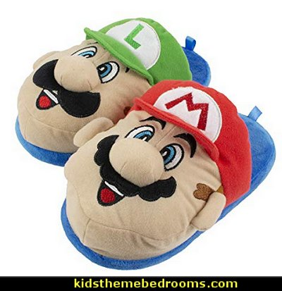 Super Mario Brothers Mario and Luigi Slippers for Kids, Nintendo, Scuff Clog Slip on slippers  Gamer bedroom - Video game room decor - gamer bedroom furniture - gamer wall decal stickers - Super Mario Brothers Wall Stickers - gamer bedding - Super Mario Brothers bedding - Pacman decor -  Retro Arcade bedrooms - 80s video gamers - gamer throw pllows - minecraft bedroom ideas - minecraft bedroom decor