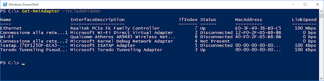 PowerShell cmdlet Get-NetAdapter -IncludeHidden