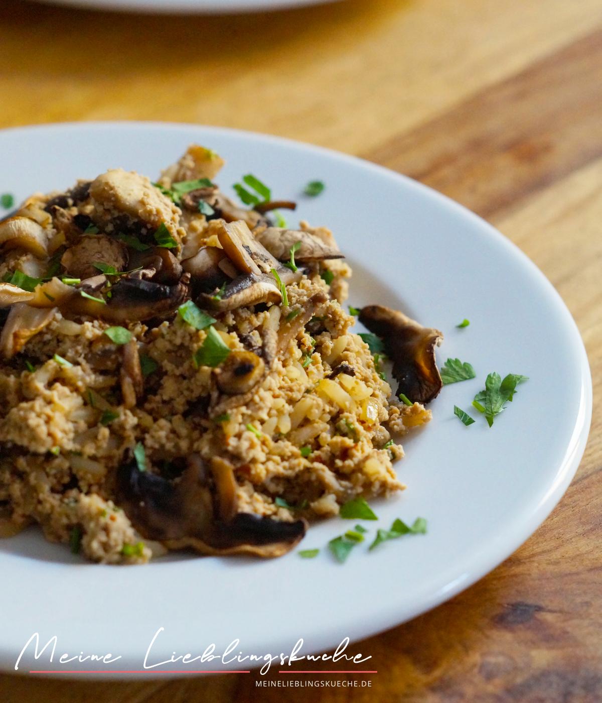 Tofu-Reis-Pfanne mit Pilzen vegan glutenfrei