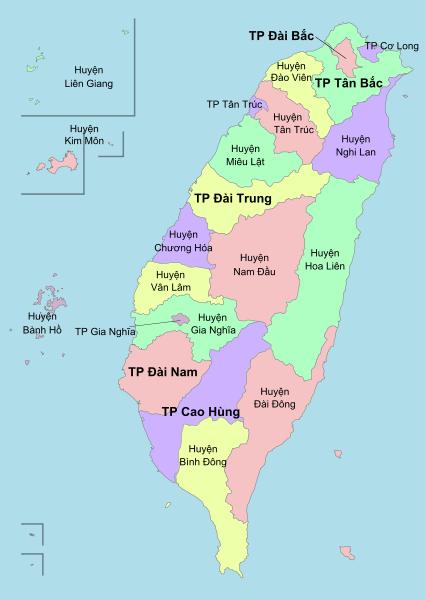 xuat khau lao dong Dai Loan - ban do