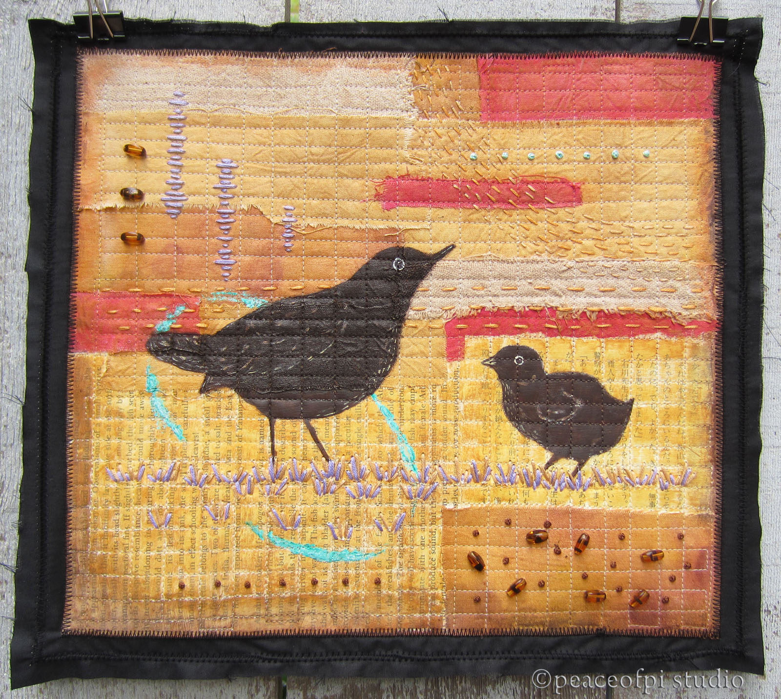 peaceofpi studio: Blackbirds Mixed Media Art Quilt