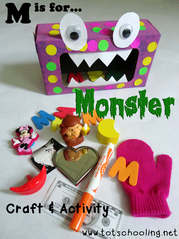 M Is For Monster Craft Activity Totschooling Toddler Preschool Kindergarten Educational Printables