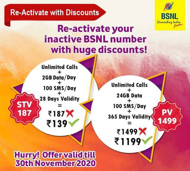 Special BSNL Recharge Offers for Prepaid inactive mobile numbers in GP2?