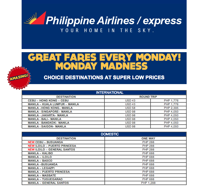 Philippine Airlines Promo 2019 - 2020: Pal Promo Monday