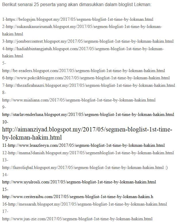 Menang Segmen: Bloglist 1st Time by Lokman Hakim