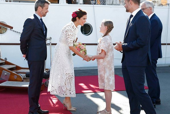 Crown Princess Mary wore Temperley London Berry lace neck tie dress and Gianvito Rossi Gianvito Pumps. 50th birthday celebrations of Prince Frederik