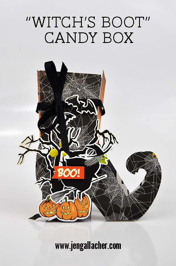 """Witch's Boot"" Candy Box by Jen Gallacher for www.jengallacher.com #jengallacher #halloweencraft #diecut #cartabellapaper #loriwhitlock"