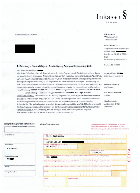 Scan: Mahnung E.B. Inkasso / Mai 2019