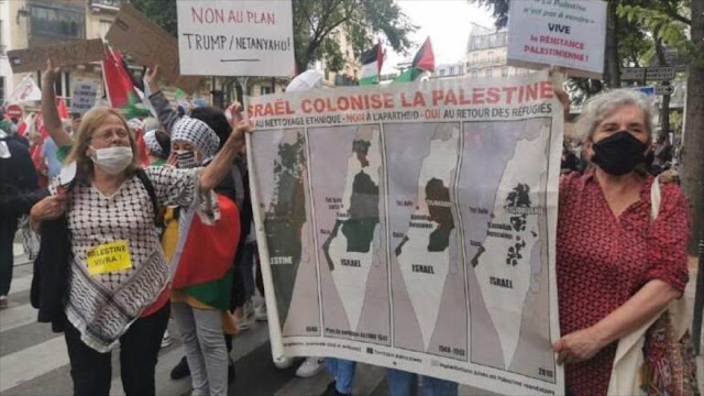 Manifestantes protestan en París contra planes de anexión israelíes