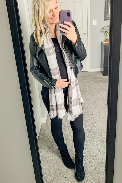 Moto jacket maternity outfit