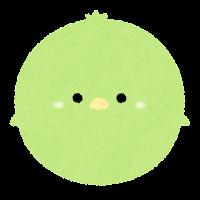 パステルカラーの鳥のイラスト(緑)