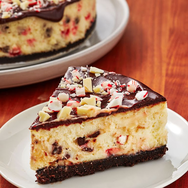 Christmas cheesecake desert from https://www.delish.com/cooking/recipe-ideas/recipes/a50775/chocolate-peppermint-cheesecake-recipe/
