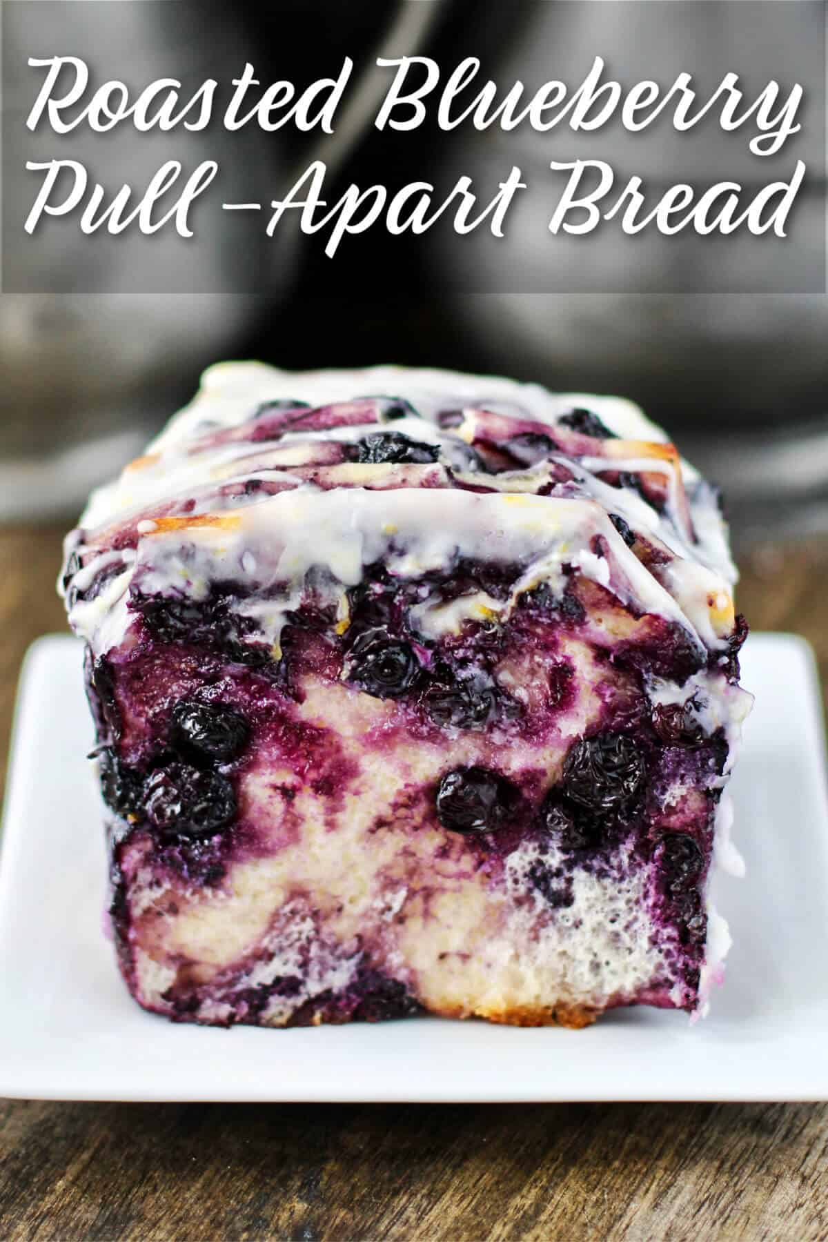 Roasted Blueberry Pull-Apart Bread with Glaze.