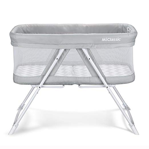 2 in 1 Stationary&Rock Mode Bassinet One-Second Fold Travel Crib Portable Newborn Baby