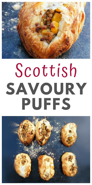 Scottish Savoury Puffs. Simple puff pastry parcels filled with a savoury veggie haggis filling. This Scottish recipe is good for packed lunches or served hot with tatties and neeps. #puffpastry #vegetarianhaggis #veganhaggis #veggiehaggis #pies #pastries #pastry #lunchbox