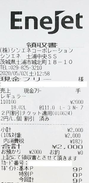 エッソ シンエネ土浦東SS 2020/5/2 のレシート