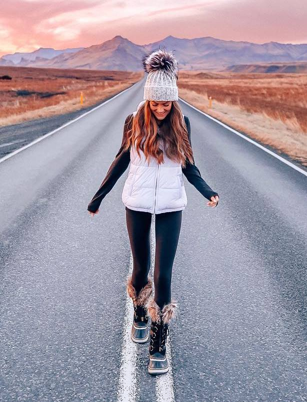 outfit of the day | hat + white vest + sweater + leggings + boots