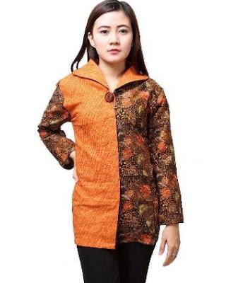 baju batik remaja kombinasi lengan panjang