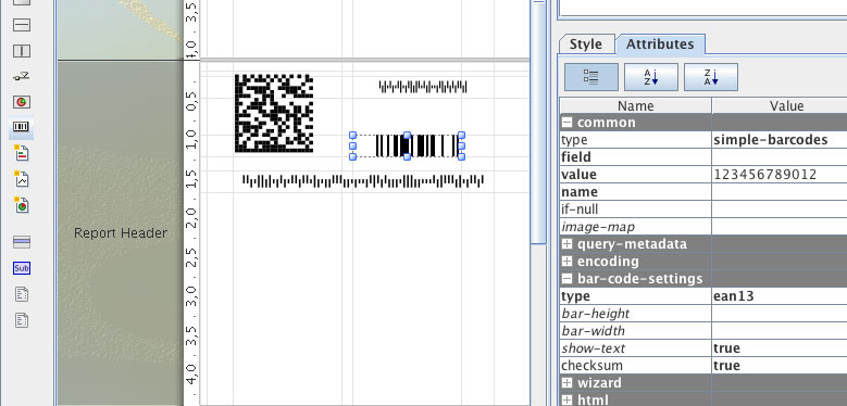 How to use the Barcode element in Pentaho Reporting