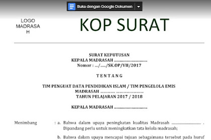 Download Contoh SK Operator Emis Terbaru 2019