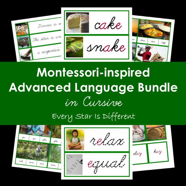 Cursive Montessori-inspired Advanced Language Bundle (Green Series/Long Vowel Sounds/Phonograms)