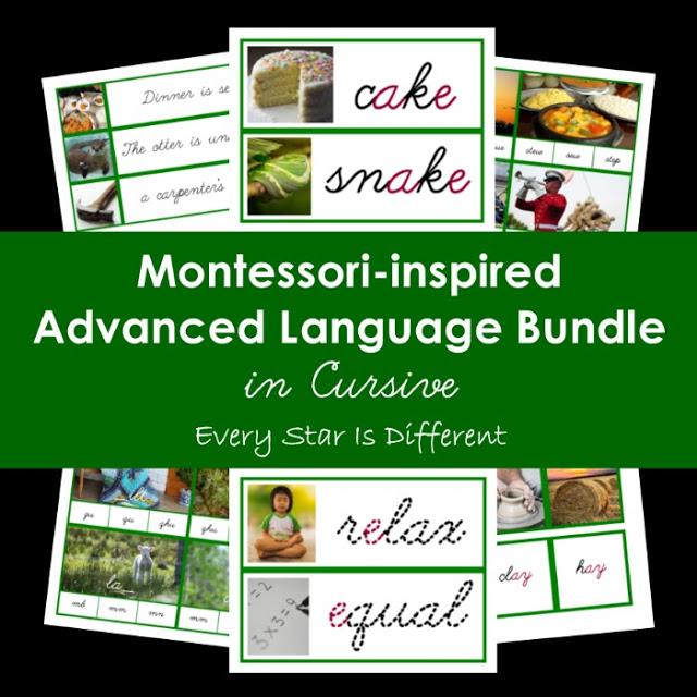 Cursive Montessori-inspired Advanced Language Bundle (Green Series/Long Vowel Sounds/Phonograms)