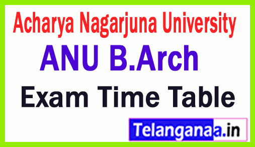 Acharya Nagarjuna University B Arch Exam Time Table