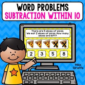 Subtraction word problems activities with pictures to help them solve! So cute and fun!