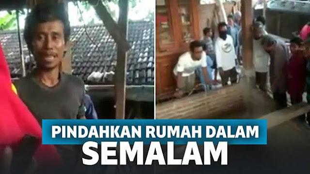 Gempar! Warga Ngawi Pindahkan Rumah Sendirian dalam Semalam