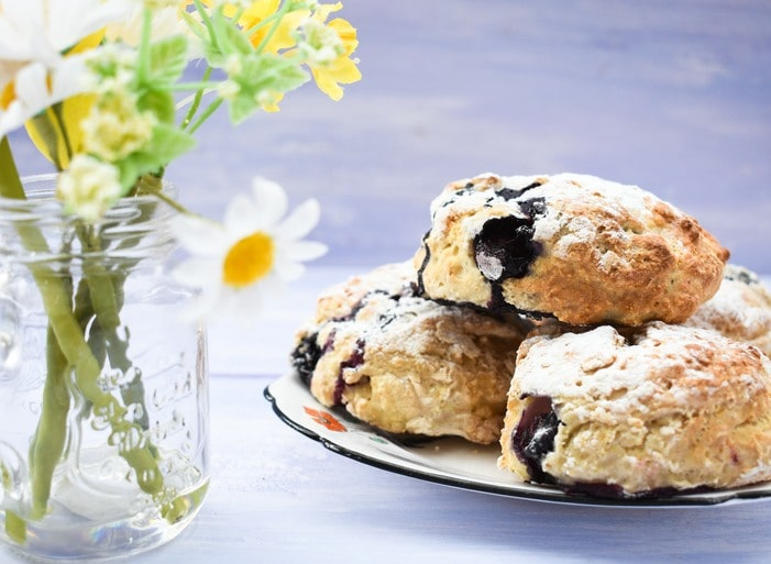 close up of Blueberry Lemonade Scones