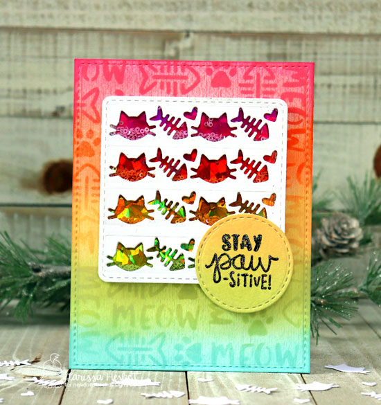 Rainbow Cat Shaker Card by Larissa Heskett | Cat-itude Stamp Set, Pawprint Shaker Die & Meow Stencil by Newton's Nook Designs #newtonsnook #handmade