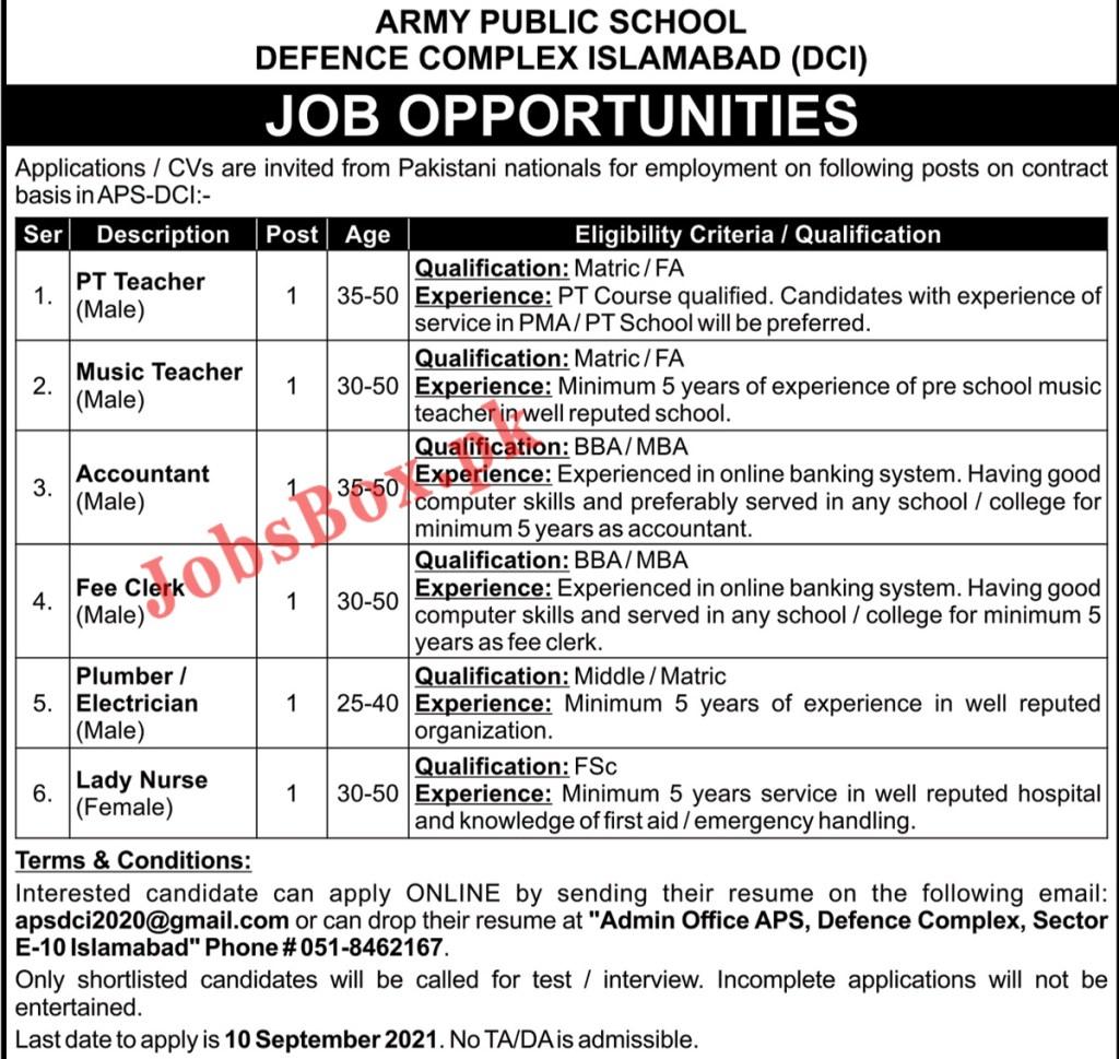 Army Public School Defence Complex Islamabad Jobs 2021 – APS-DCI Jobs