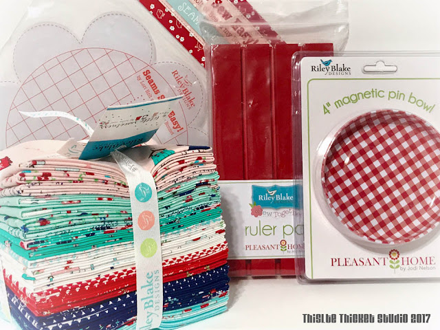 Instagram Prize on Thistle Thicket Studio. www.thistlethicketstudio.com. A Little Sweetness fat quarter bundle by Tasha Noel for Riley Blake, Seams Sew Easy seam guide by Lori Holt of Bee In My Bonnet, and magnetic pinbowl and Ruler Pal by Jodi Nelson of Pleasant Home.