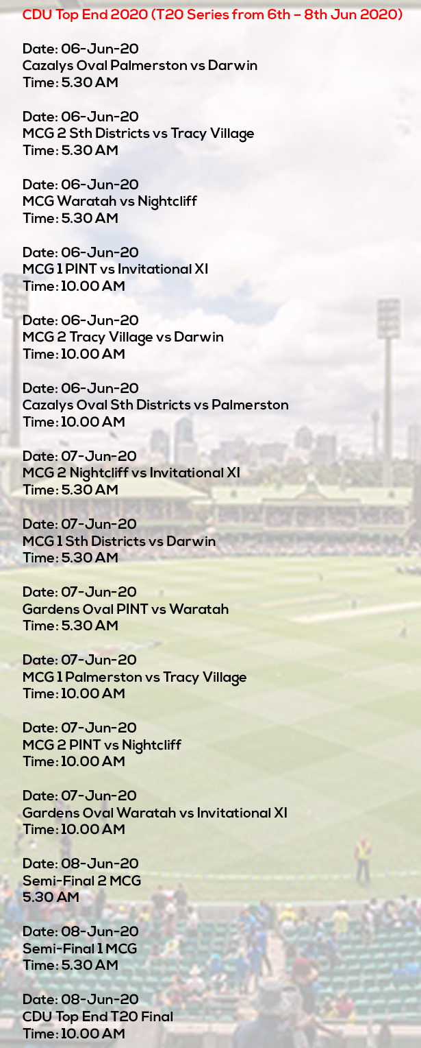 CDU Top End 2020 (T20 Series from 6th – 8th Jun 2020)