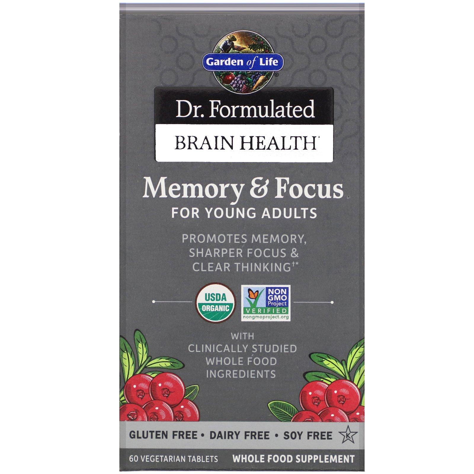 Garden of Life, Dr. Formulated для мозга, памяти и концентрации для молодежи, 60 вегетарианских таблеток