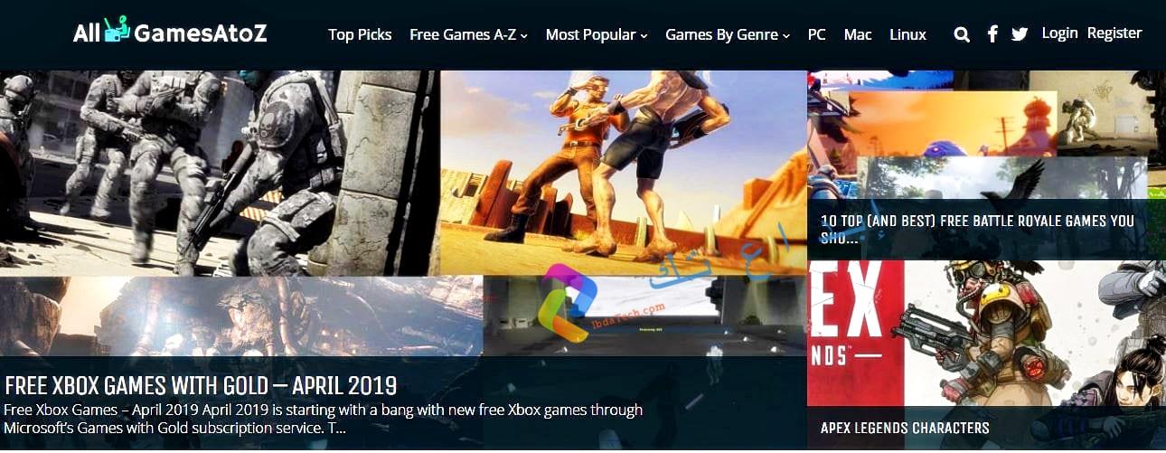 الموقع الأول هو All Games A to Z
