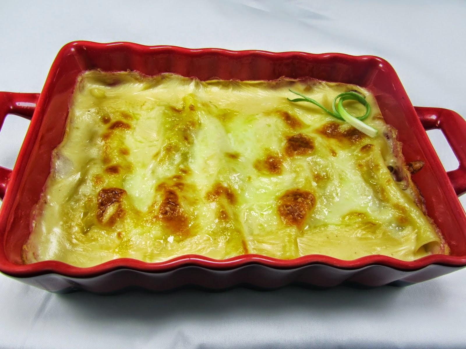 Canelones de merluza y langostinos Ana Sevilla cocina trdicional