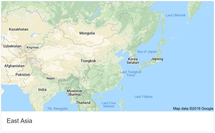 Peta Asia Timur Beserta Nama Negaranya