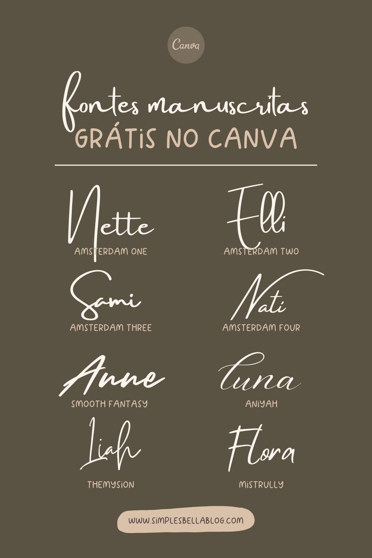 Fontes manuscritas grátis no Canva