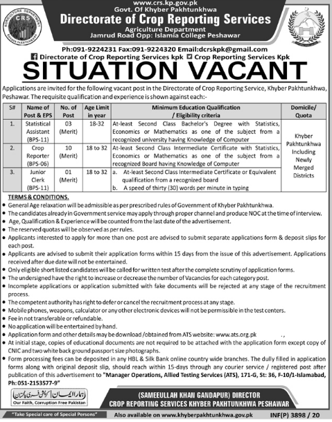 Directorate of Crop Reporting Services KPK Jobs in Pakistan Jobs 2021 - Download Application Form - www.ats.org.pk