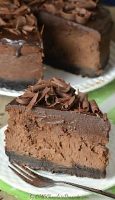 Triple Chocolate Cheesecake with Oreo Crust is reach and decadent, triple chocolate treat.