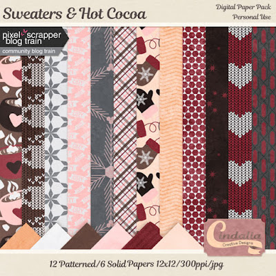 digital scrapbook papers, freebies, free, winter, sweaters, hot cocoa, January, 2020, digital, papers, knit, snow, snowflakes, frost, pixel scrapper, blog train