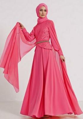 Model baju brokat terusan wanita muslim