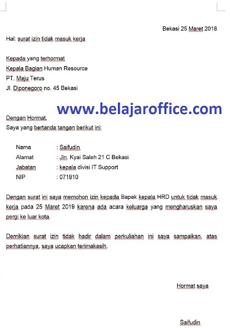 Contoh Surat Izin Kerja (via: belajaroffice.com)
