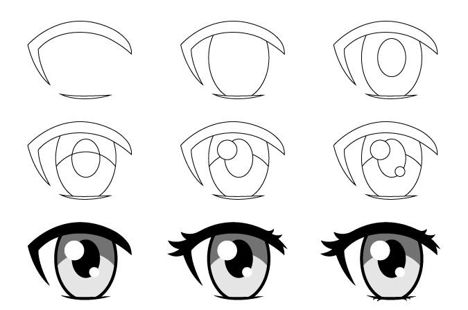 Gambar mata anime wanita selangkah demi selangkah