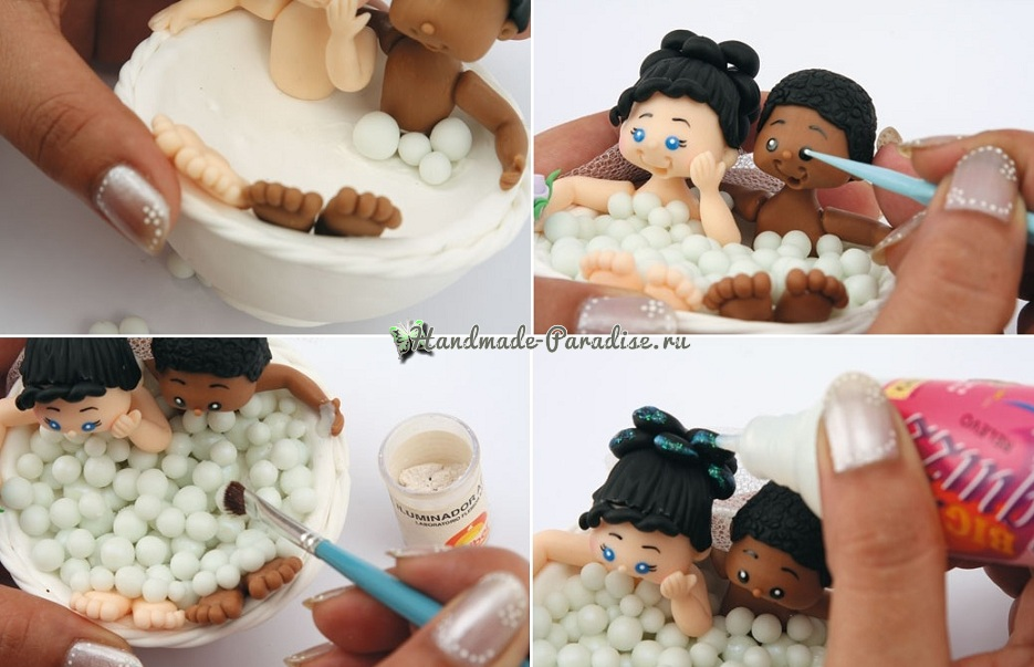Лепка куколок-молодоженов из холодного фарфора (11)