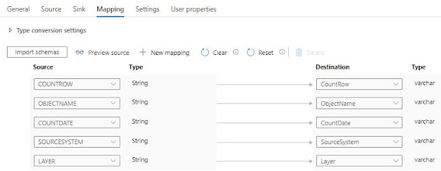 column mapping in azure data factory