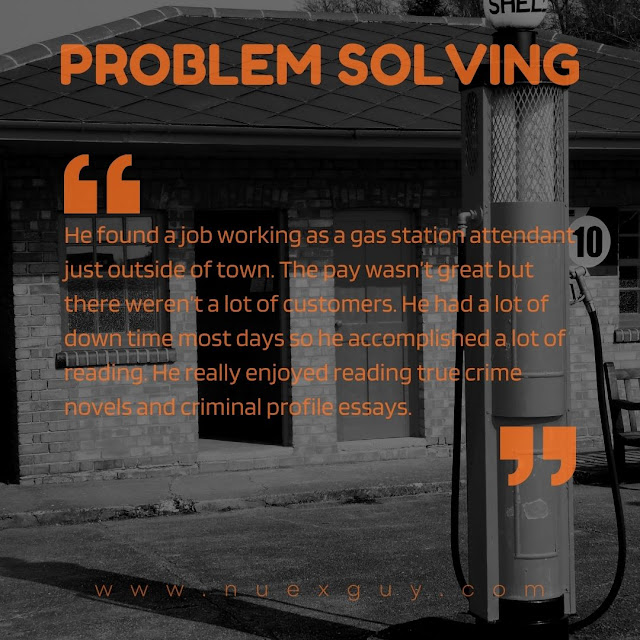 A quote from the PROBLEM SOLVING short ficiton piece laid over black and white imagery of an old service station.