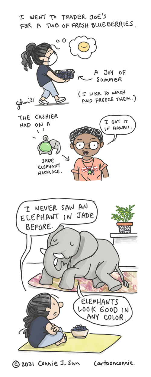 Illustration of a girl buying summer blueberries to freeze, a cashier wearing a jade elephant necklace, and an interior scene of a girl talking to an elephant with a bowl of blueberries, sketchbook drawing by Connie Sun, cartoonconnie